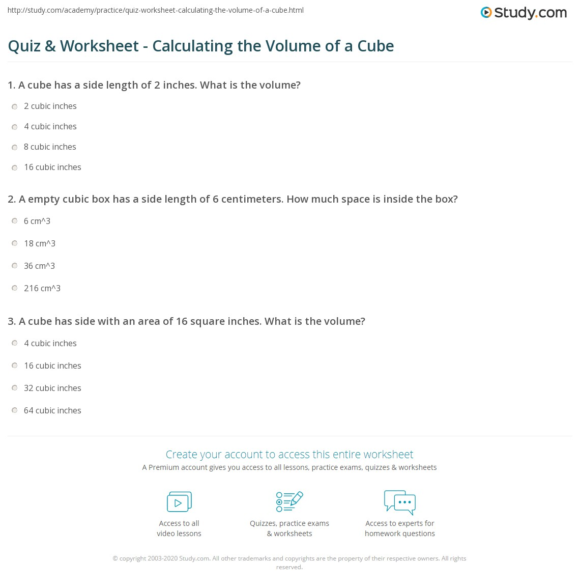 Worksheets Volume Cubes Worksheet quiz worksheet calculating the volume of a cube study com print how to calculate formula practice worksheet