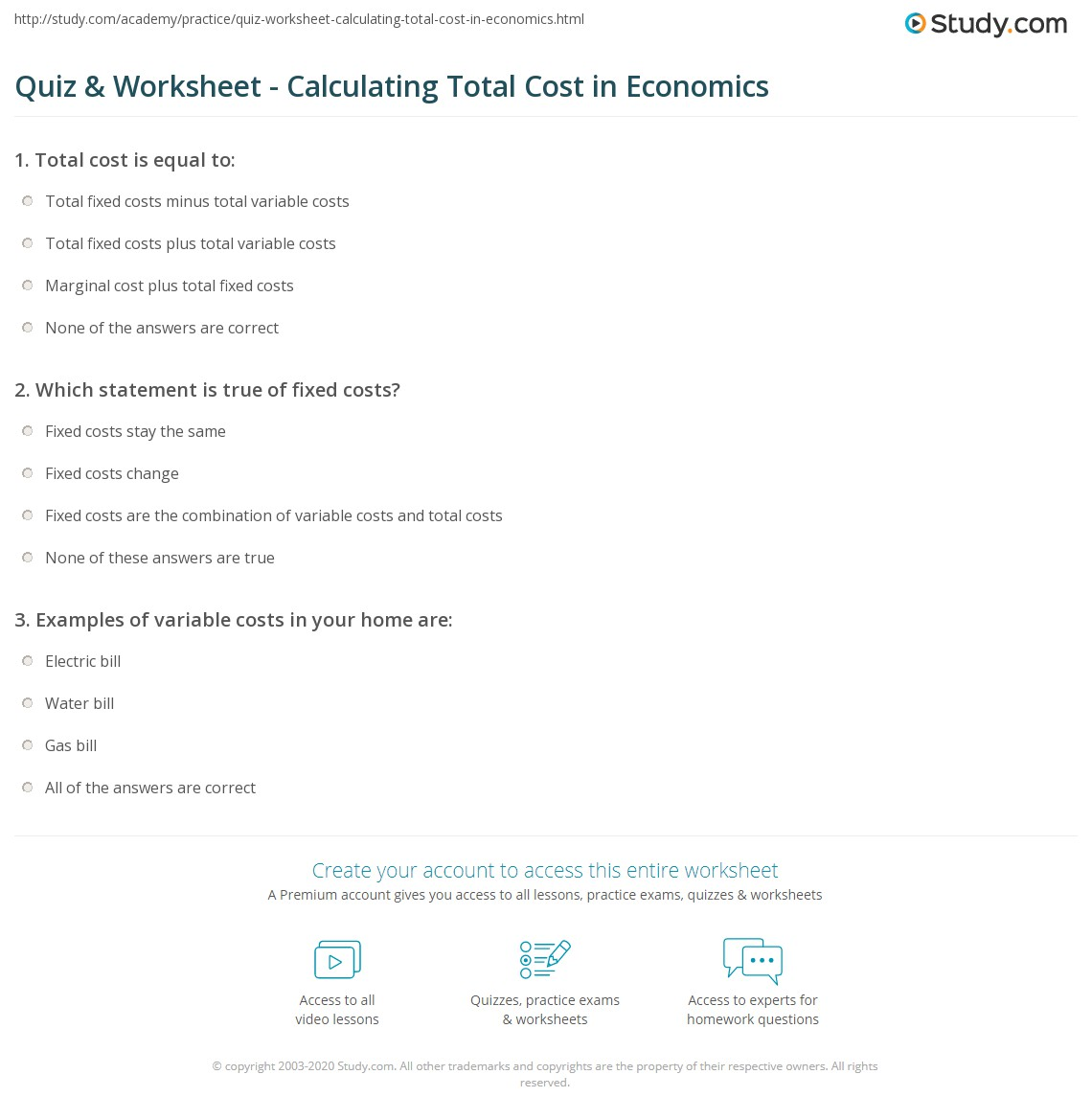 Workbooks home ec worksheets : Quiz & Worksheet - Calculating Total Cost in Economics | Study.com