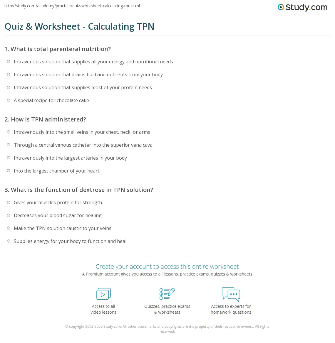 quiz amp worksheet   calculating tpn study
