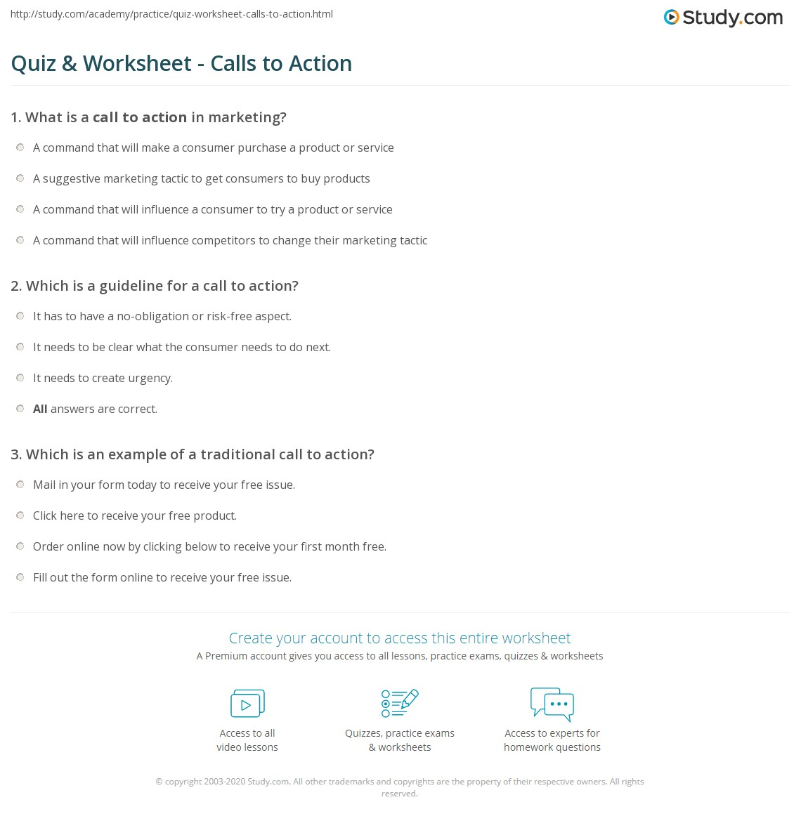 quiz & worksheet - calls to action | study
