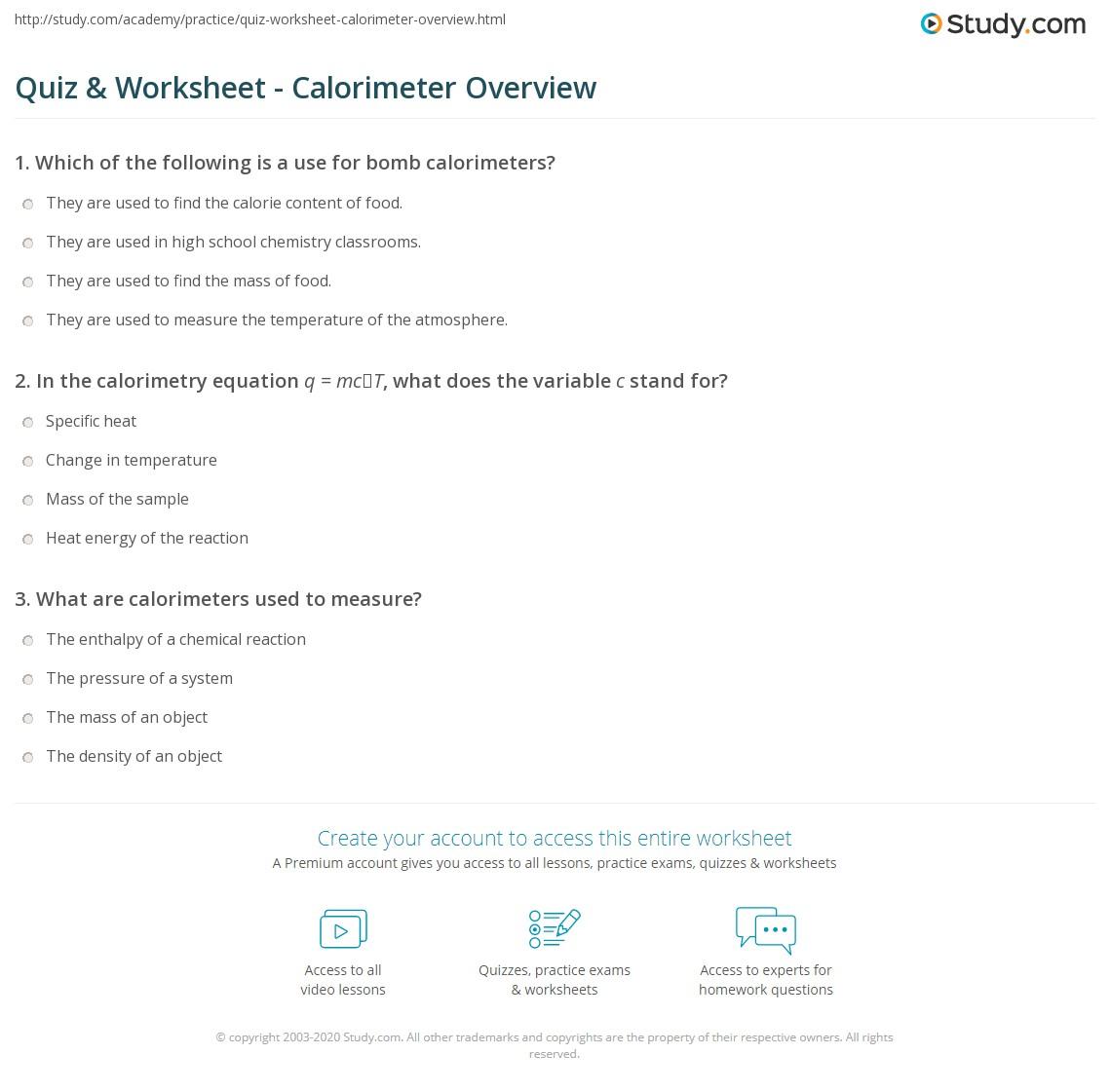 quiz worksheet calorimeter overview. Black Bedroom Furniture Sets. Home Design Ideas