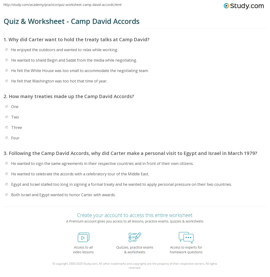 Workbooks to too and two worksheets : Quiz & Worksheet - Camp David Accords | Study.com