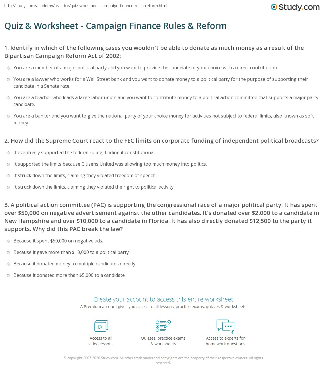 Quiz Worksheet Campaign Finance Rules Reform – Finance Worksheets