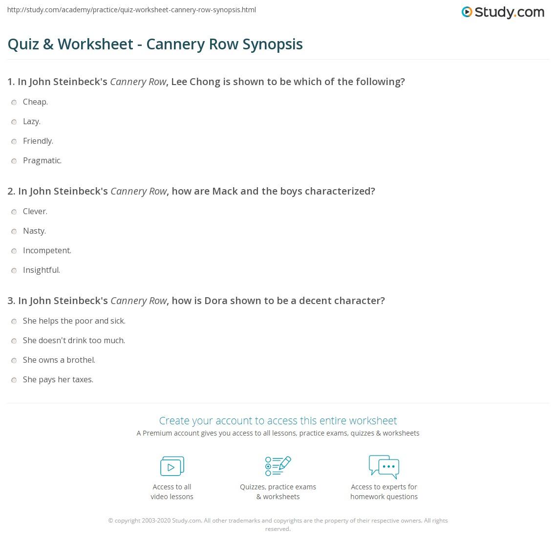 steinbeck cannery row summary