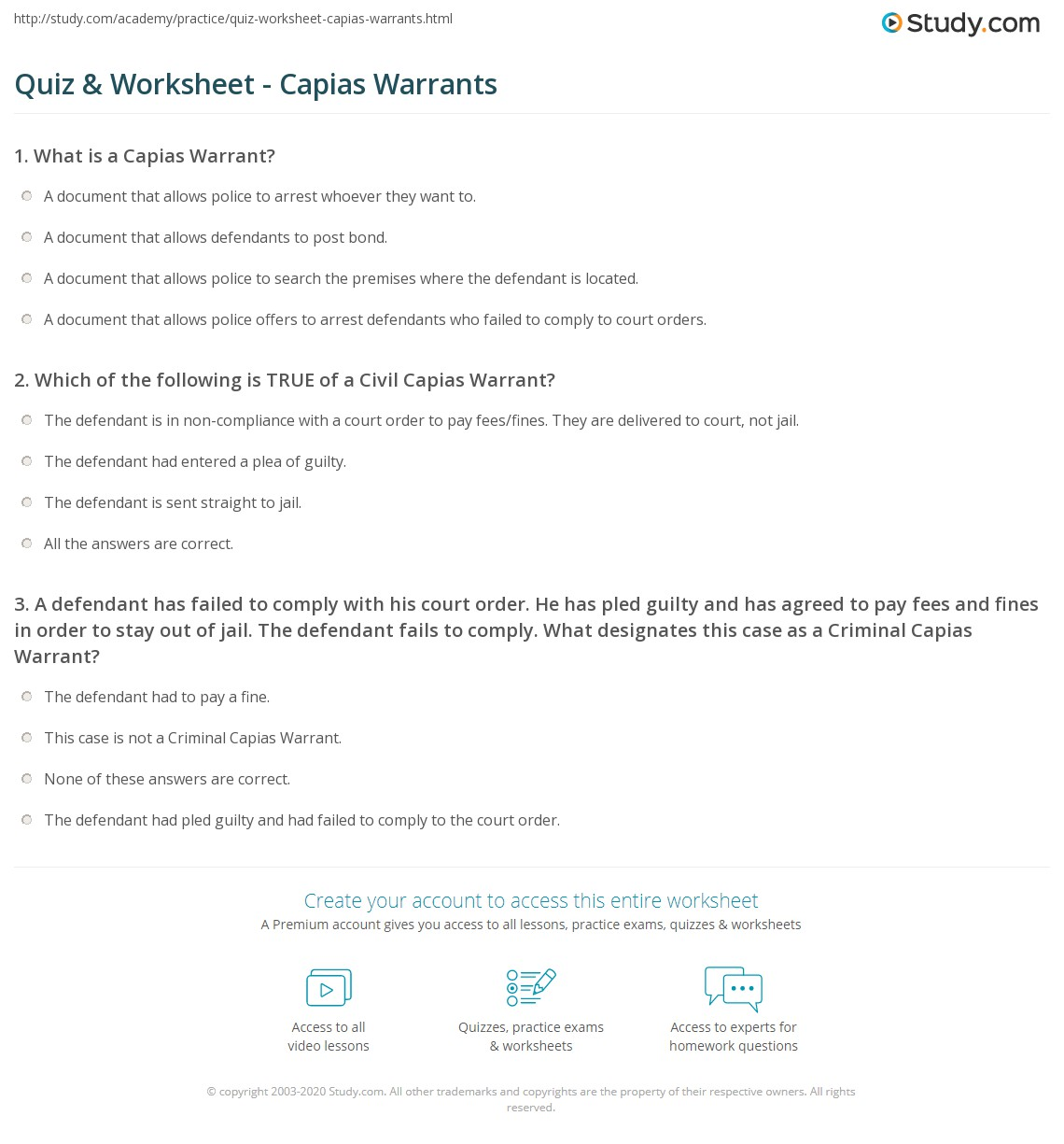 Quiz & Worksheet - Capias Warrants | Study com