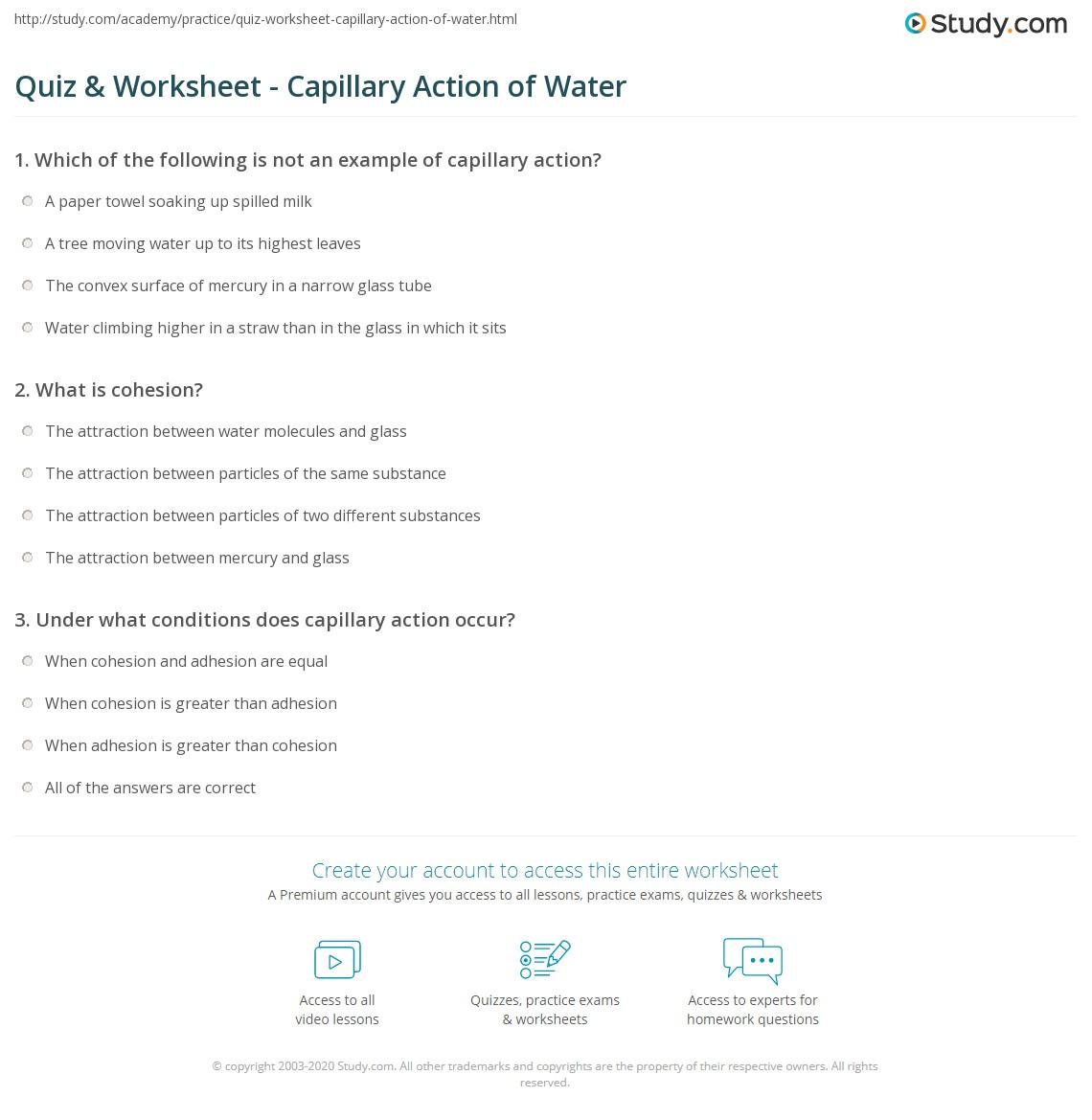 Uncategorized Water Properties Worksheet quiz worksheet capillary action of water study com print definition examples worksheet