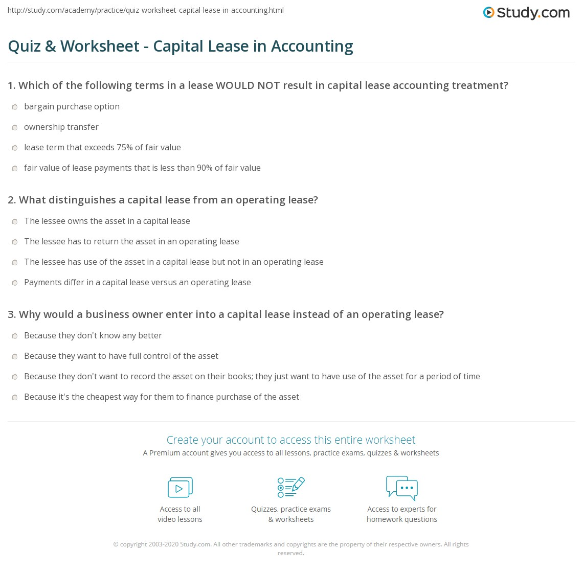 quiz & worksheet - capital lease in accounting | study