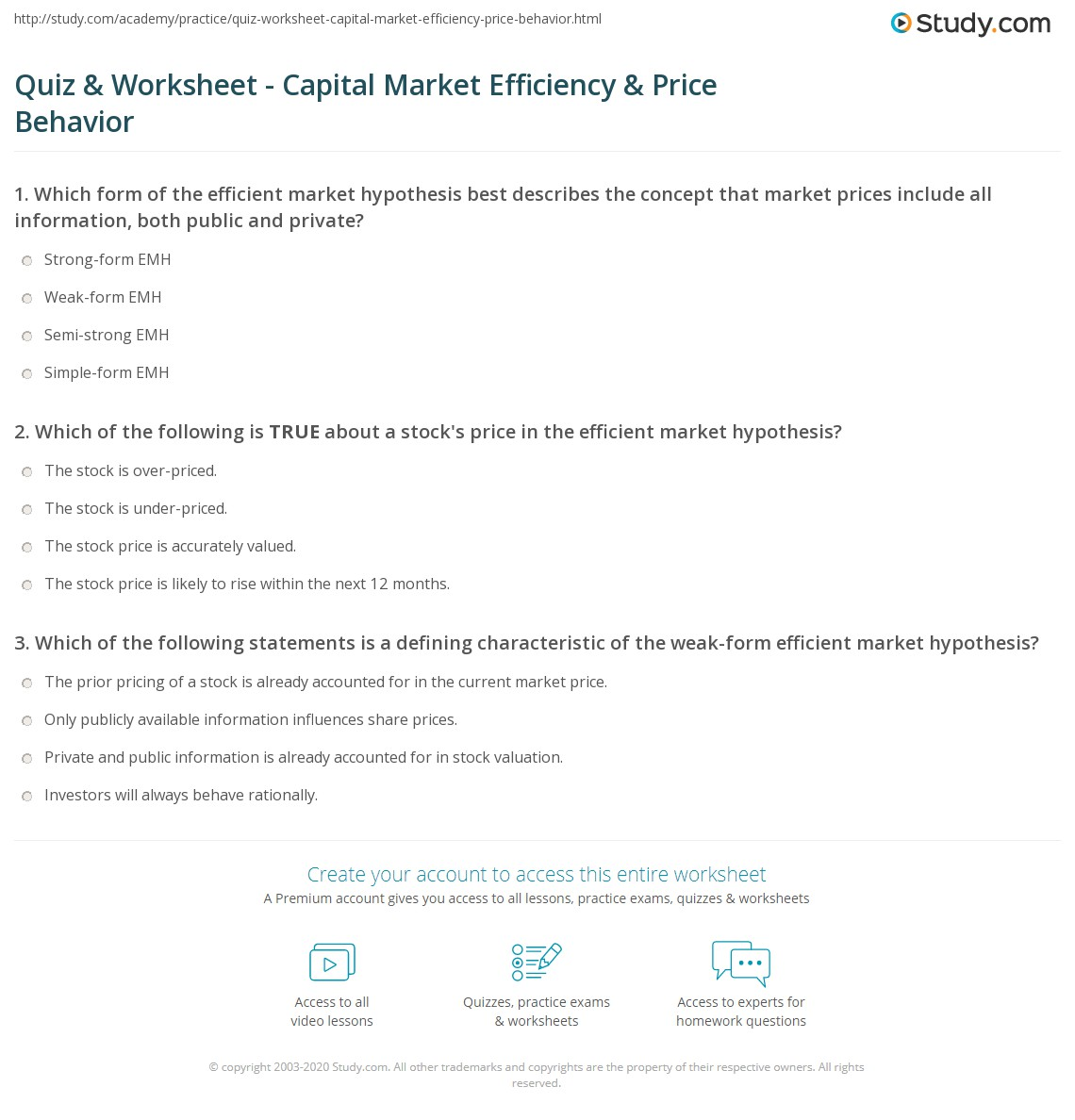 Quiz & Worksheet - Capital Market Efficiency & Price Behavior ...