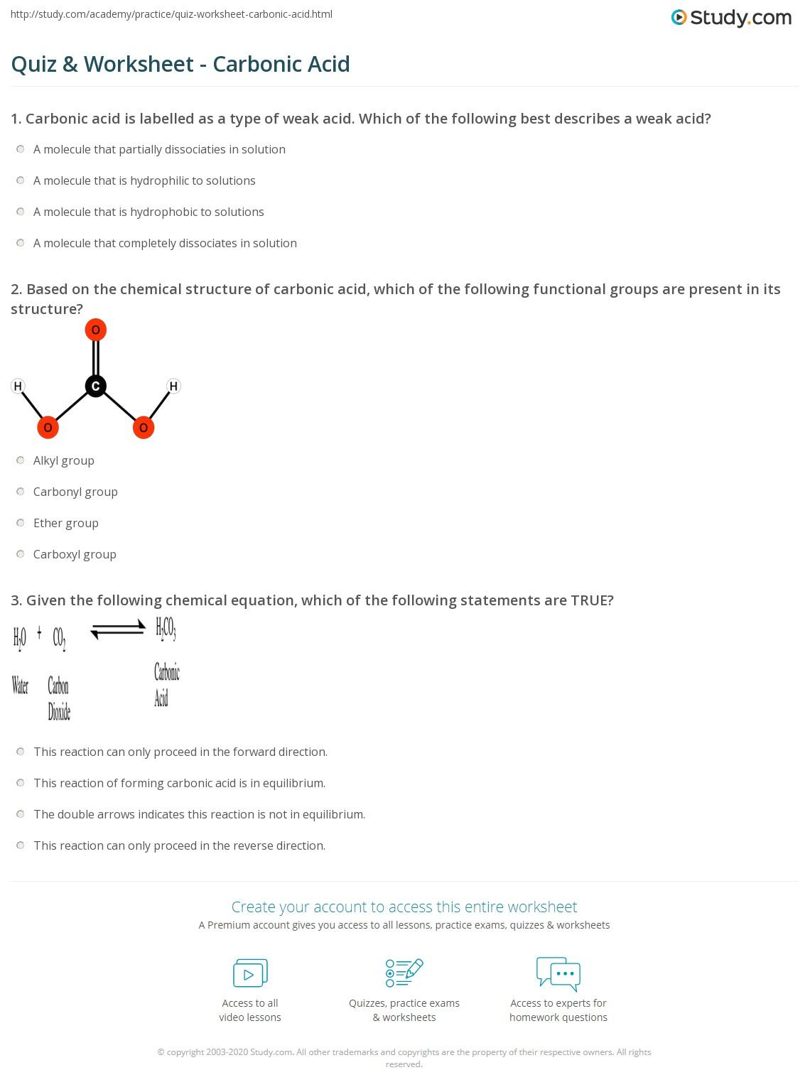 Quiz Worksheet Carbonic Acid Study Com