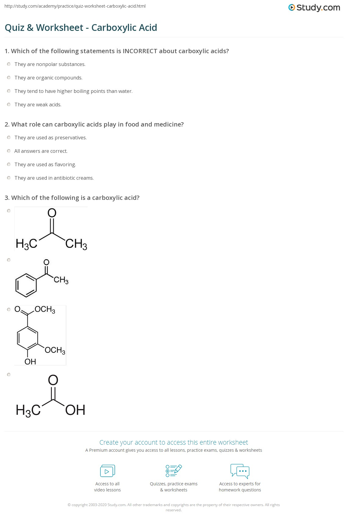 Quiz & Worksheet - Carboxylic Acid | Study.com