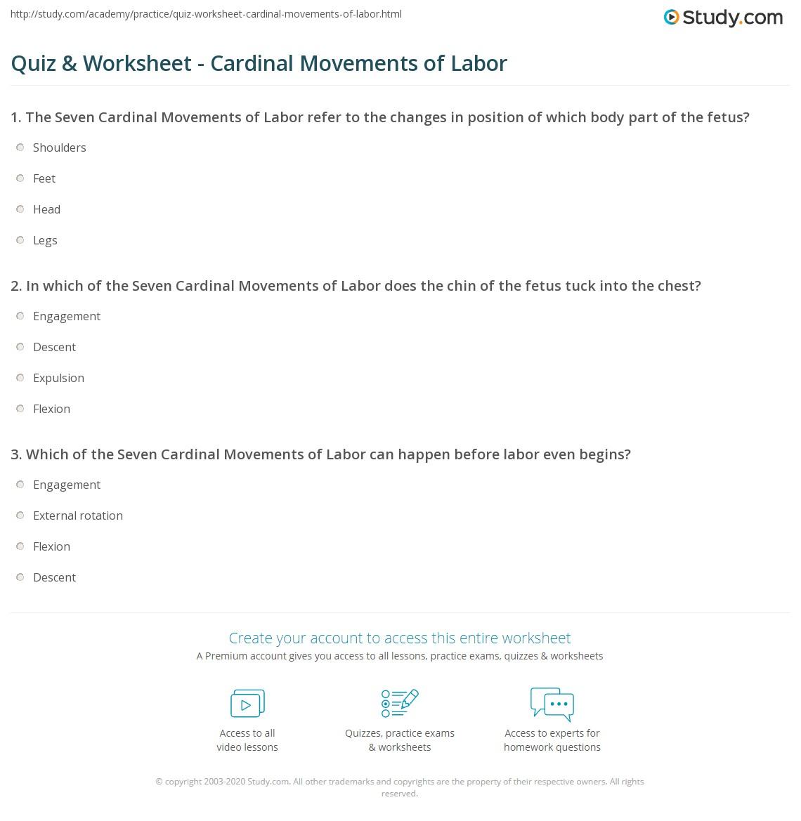 Quiz & Worksheet - Cardinal Movements of Labor | Study.com