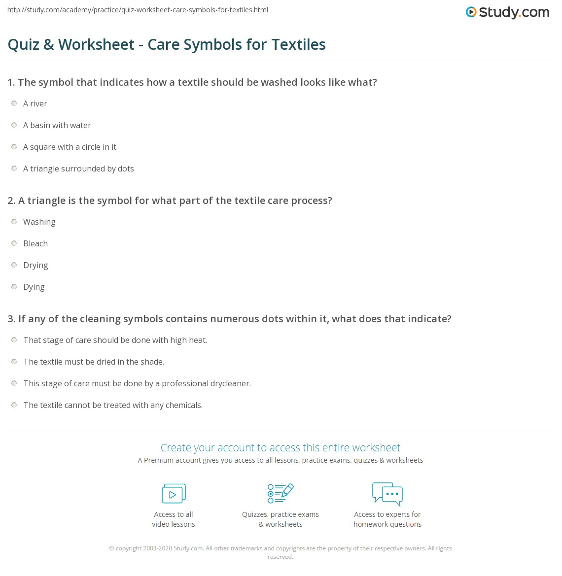 Quiz Worksheet Care Symbols For Textiles Study