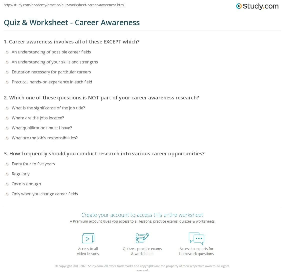 Quiz Worksheet Career Awareness Study