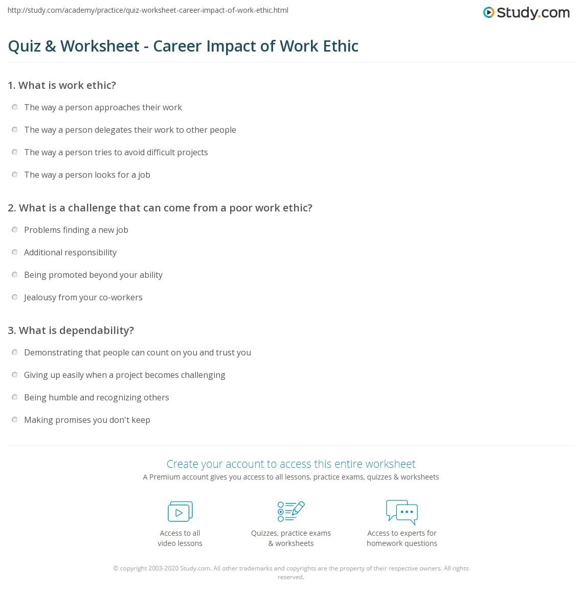 quiz worksheet career impact of work ethic com print how your work ethic impacts your career worksheet