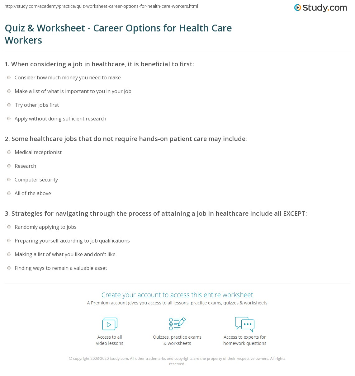 worksheet Career Research Worksheet quiz worksheet career options for health care workers study com print evaluating employment opportunities in the field worksheet