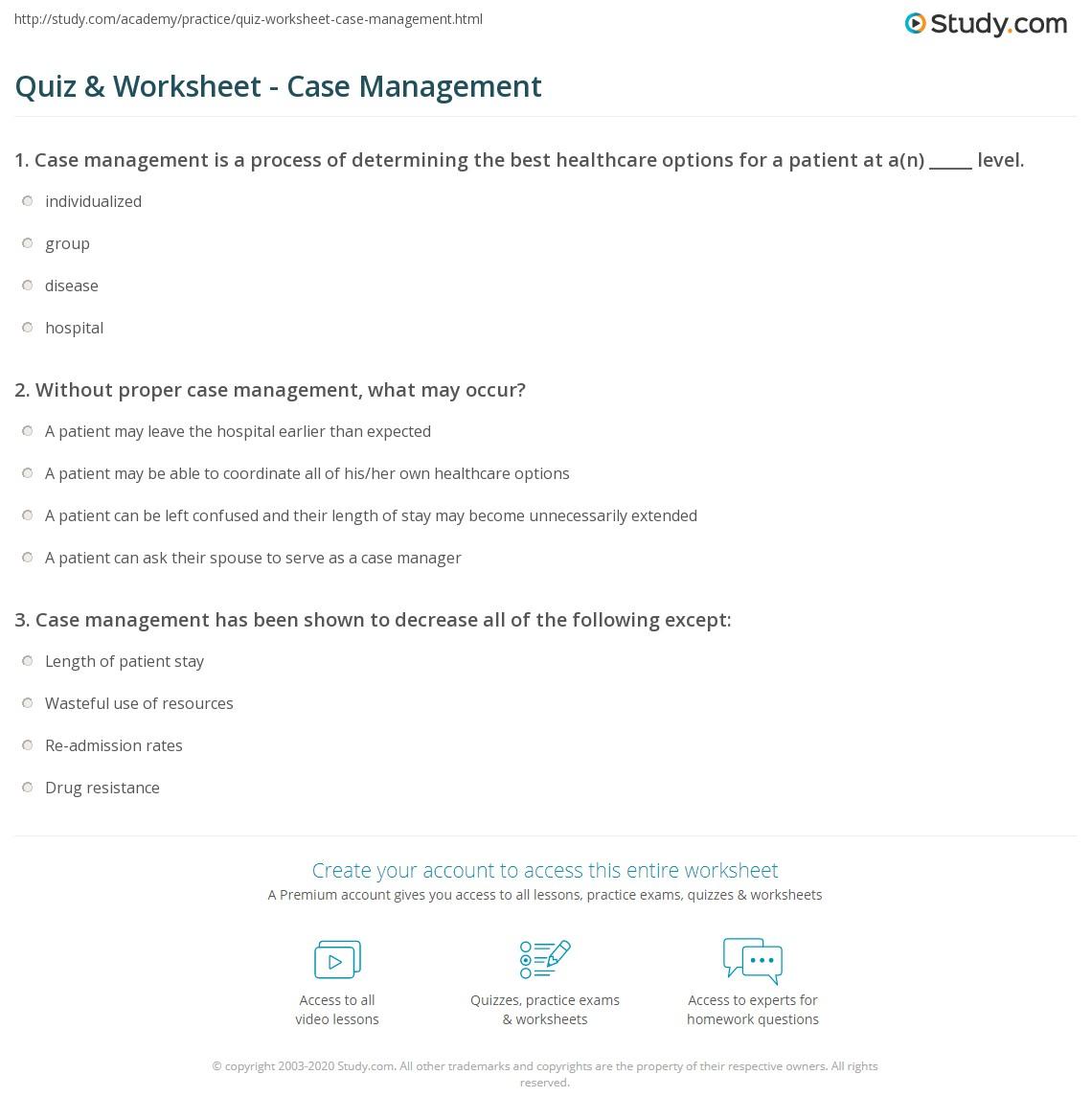 quiz & worksheet - case management | study