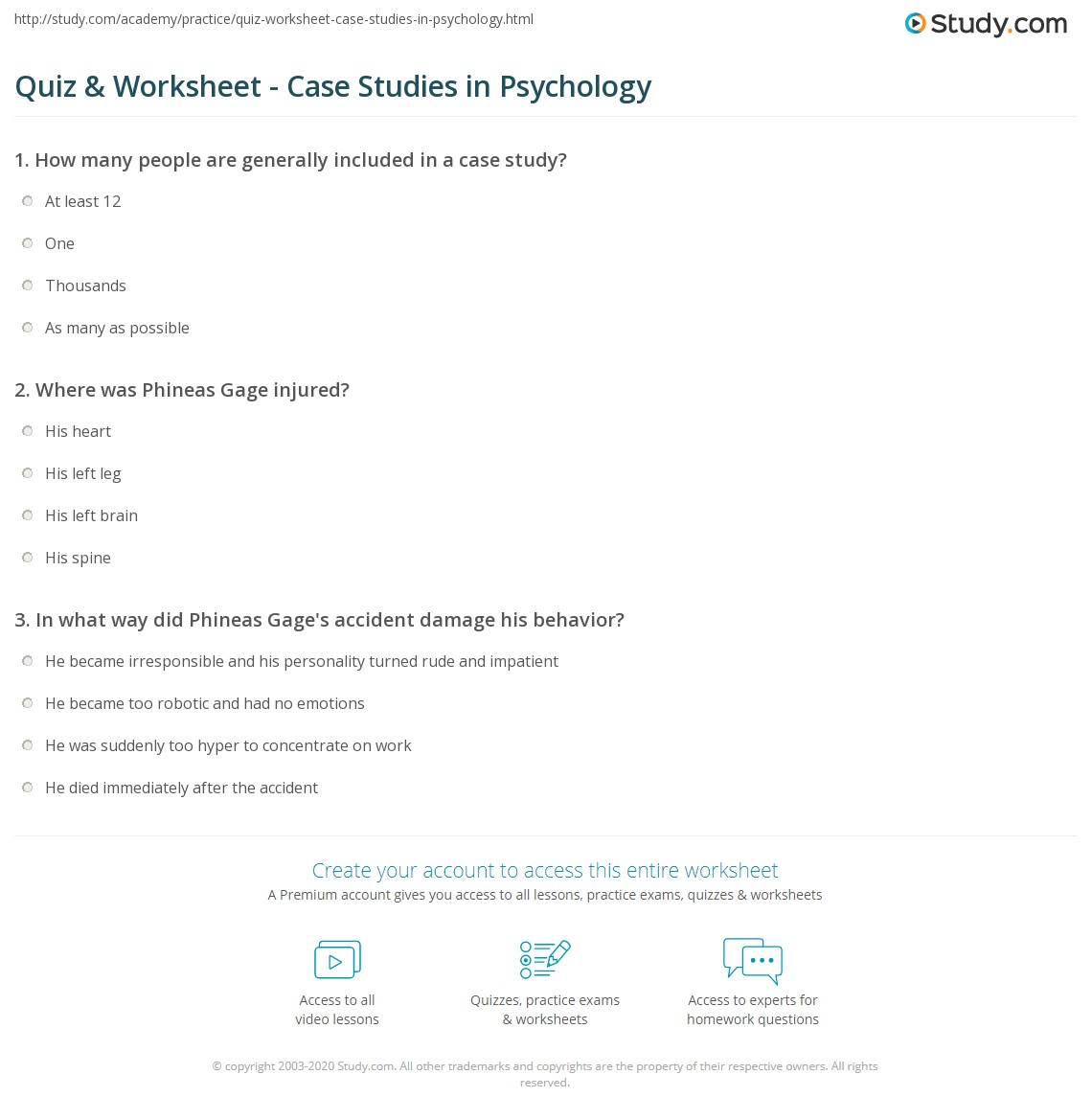 quiz worksheet case studies in psychology. Black Bedroom Furniture Sets. Home Design Ideas