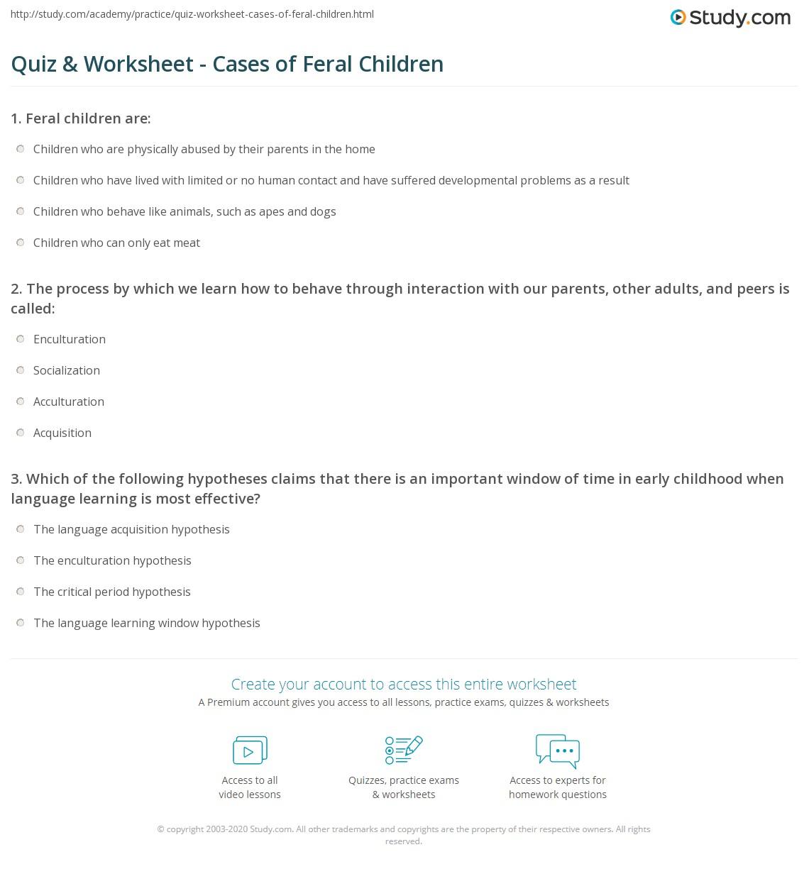 Print Feral Children: Definition, Stories U0026 Cases Worksheet