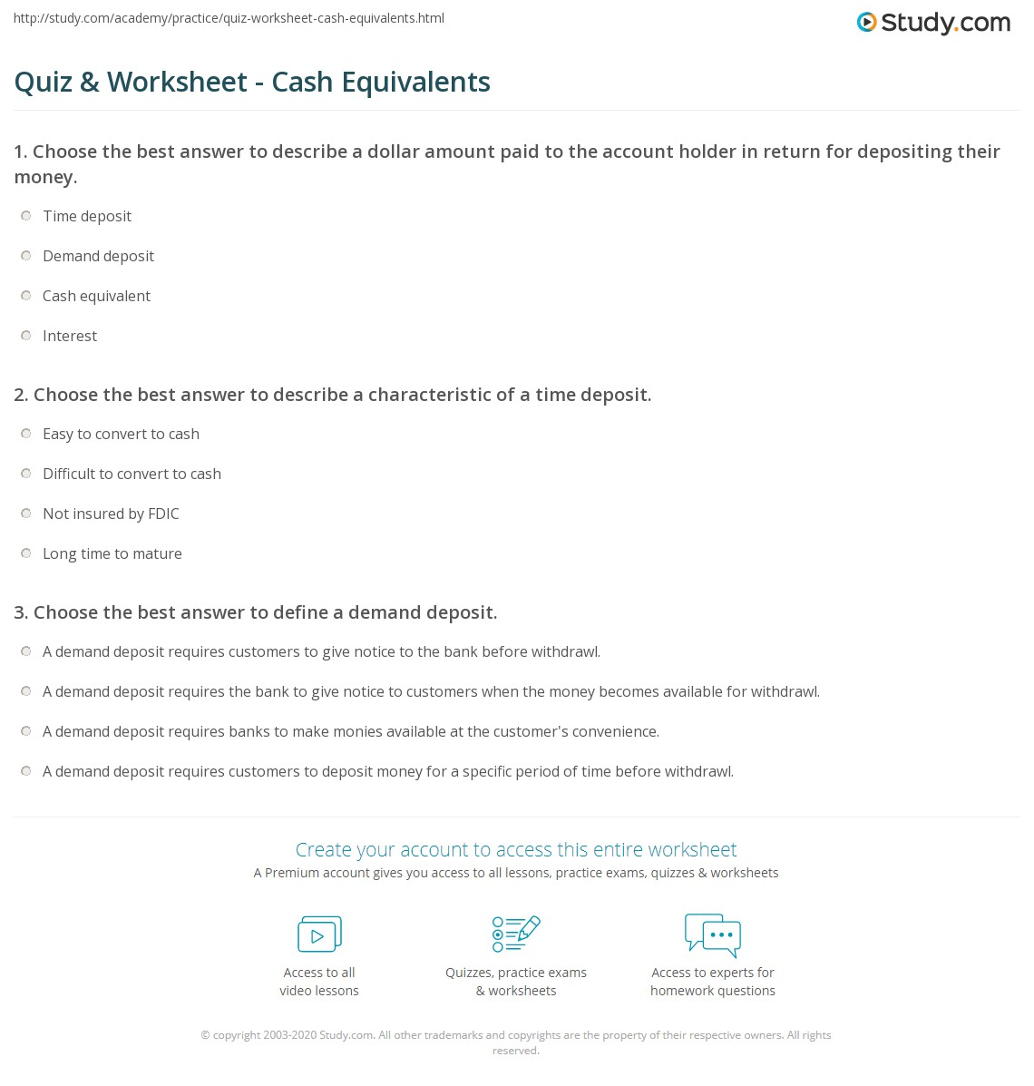 Quiz worksheet cash equivalents study choose the best answer to describe a characteristic of a time deposit yadclub Gallery