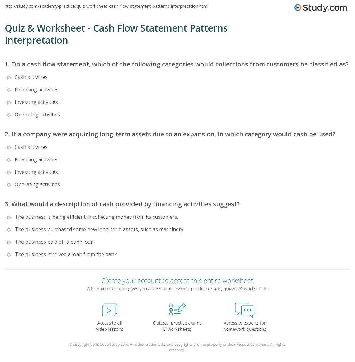 Worksheets Cash Flow Statement Worksheet quiz worksheet cash flow statement patterns interpretation print analyzing worksheet