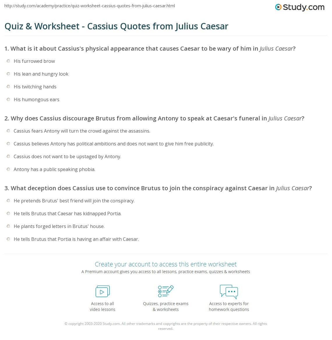 Quiz Worksheet Cassius Quotes From Julius Caesar Study