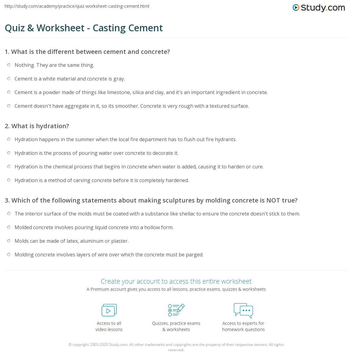 Quiz & Worksheet - Casting Cement | Study com