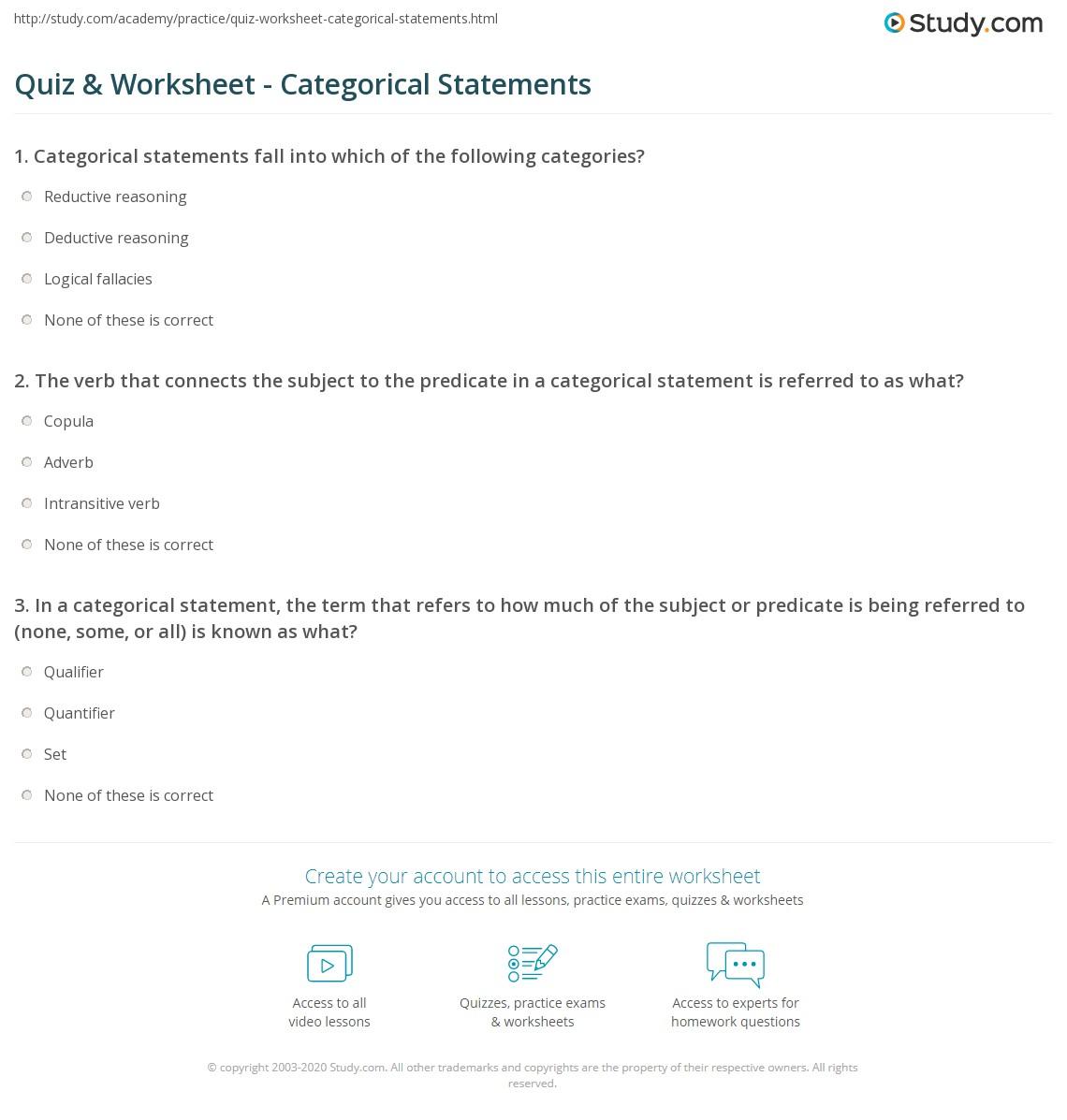quiz worksheet categorical statements. Black Bedroom Furniture Sets. Home Design Ideas