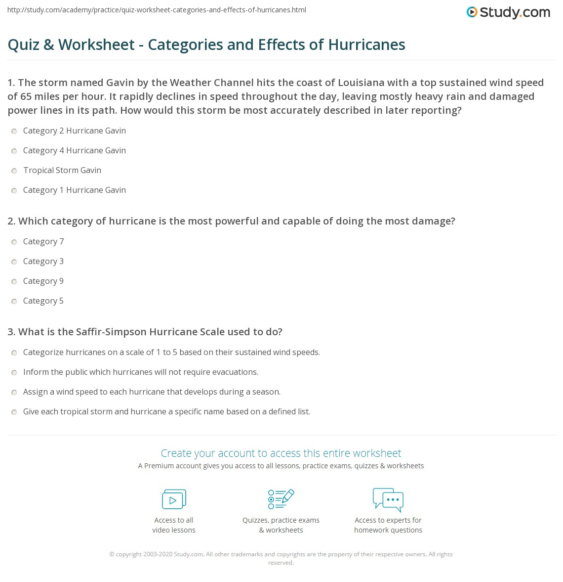 Quiz Amp Worksheet Categories And Effects Of Hurricanes
