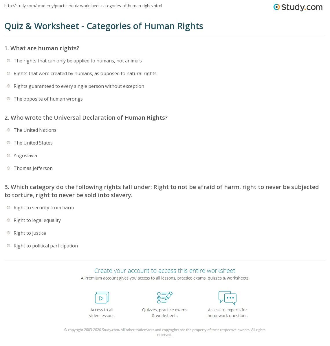 human rights worksheet resultinfos. Black Bedroom Furniture Sets. Home Design Ideas