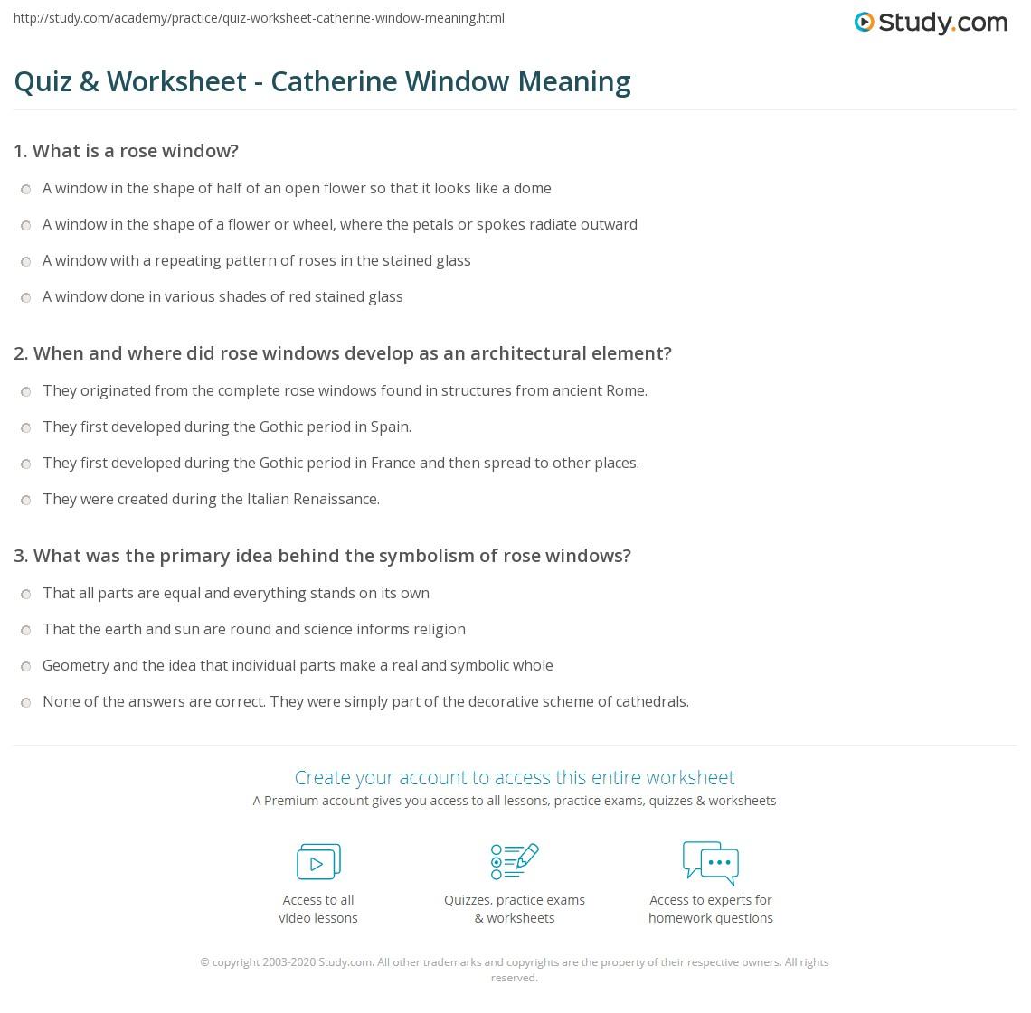 Quiz & Worksheet - Catherine Window Meaning | Study.com