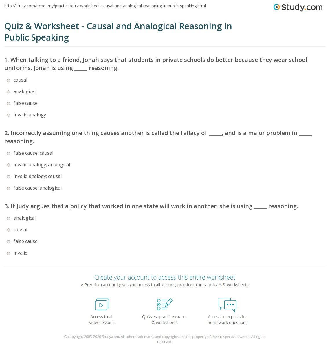 Worksheets Public Speaking Worksheets quiz worksheet causal and analogical reasoning in public print impact on speaking worksheet