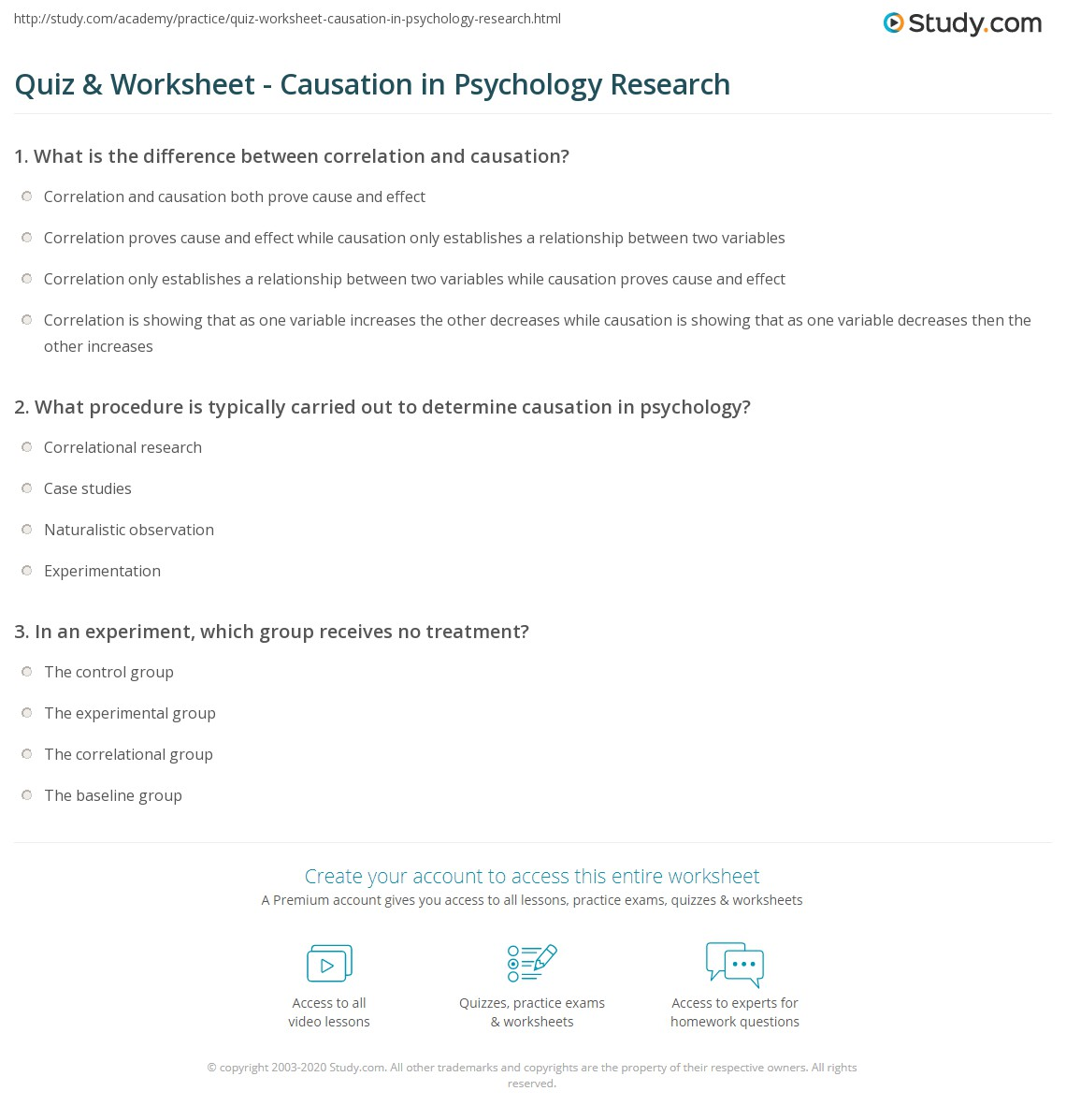 Quiz Worksheet Causation In Psychology Research Study