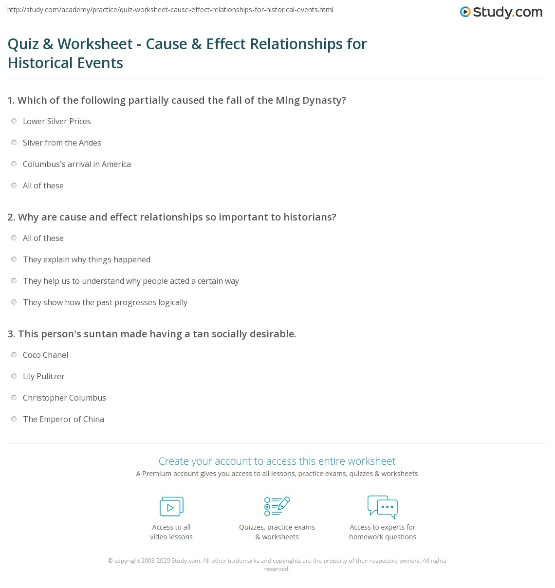 quiz worksheet cause effect relationships for historical print understanding history through cause and effect relationships worksheet