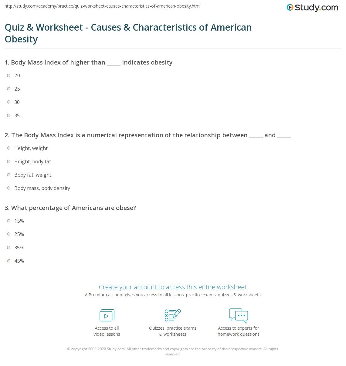 Quiz & Worksheet - Causes & Characteristics of American Obesity