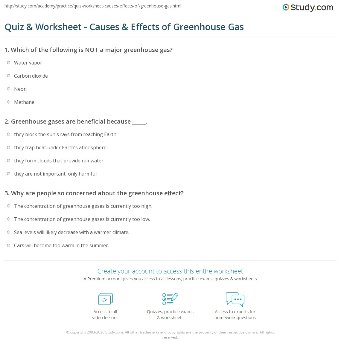 quiz & worksheet - causes & effects of greenhouse gas | study