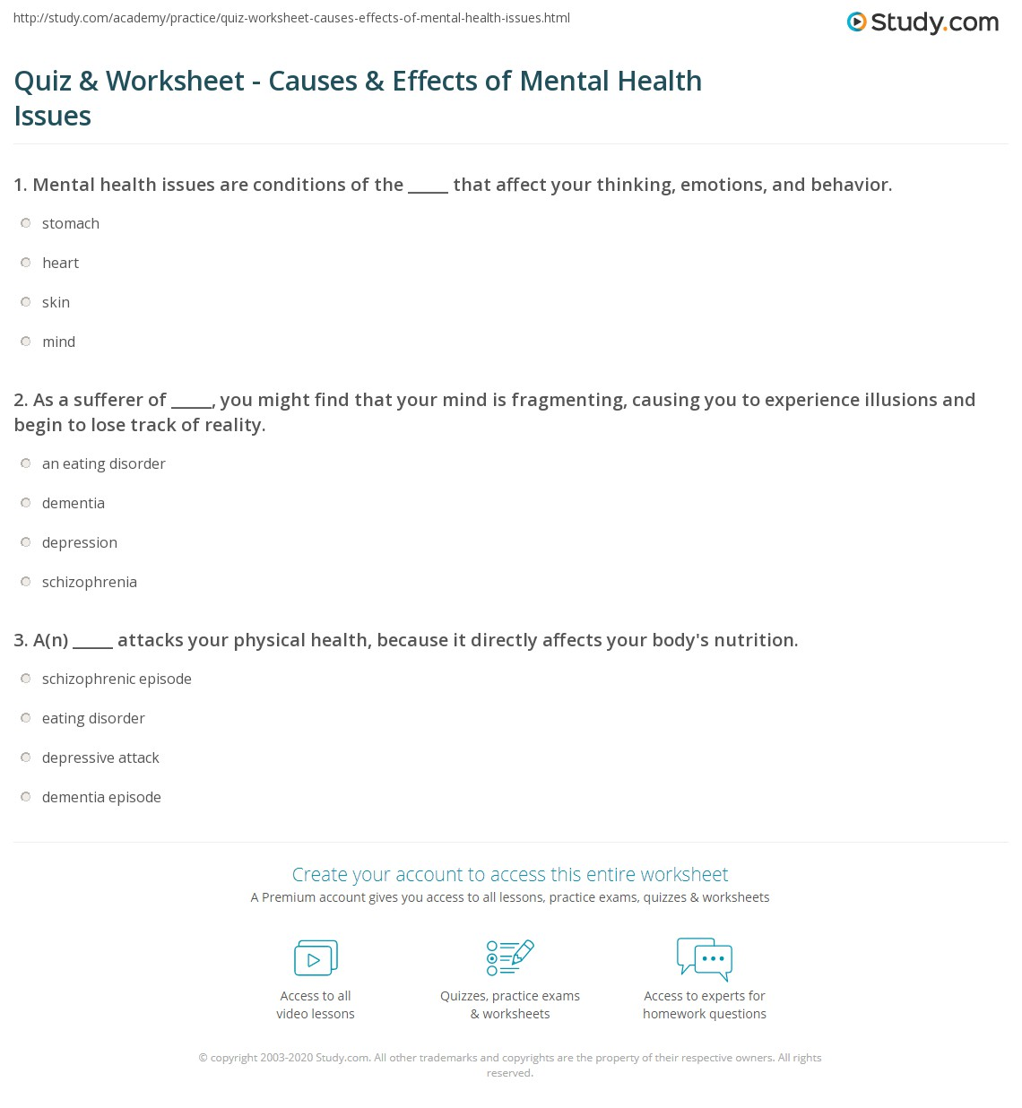 Worksheets Mental Health Worksheets quiz worksheet causes effects of mental health issues study com print categories worksheet
