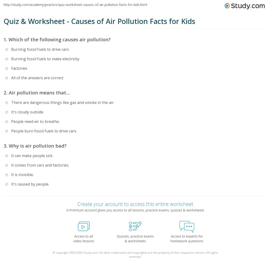 worksheet Air Pollution Worksheet quiz worksheet causes of air pollution facts for kids study com print lesson worksheet
