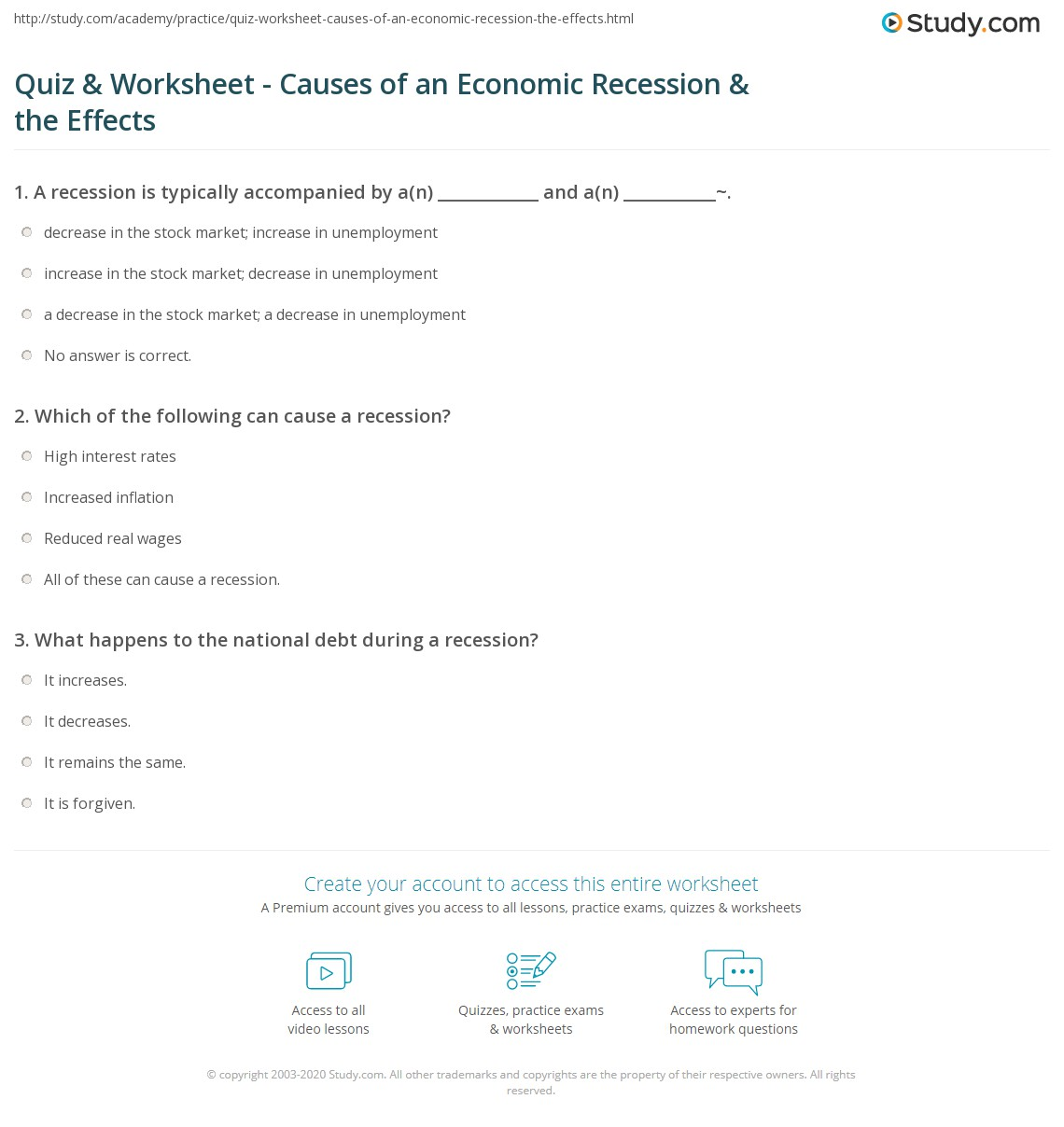 quiz & worksheet - causes of an economic recession & the effects