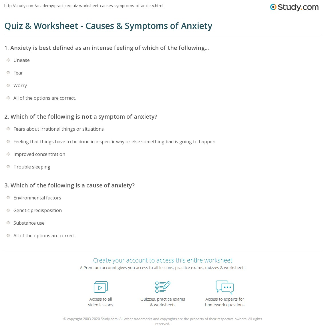 quiz & worksheet - causes & symptoms of anxiety | study