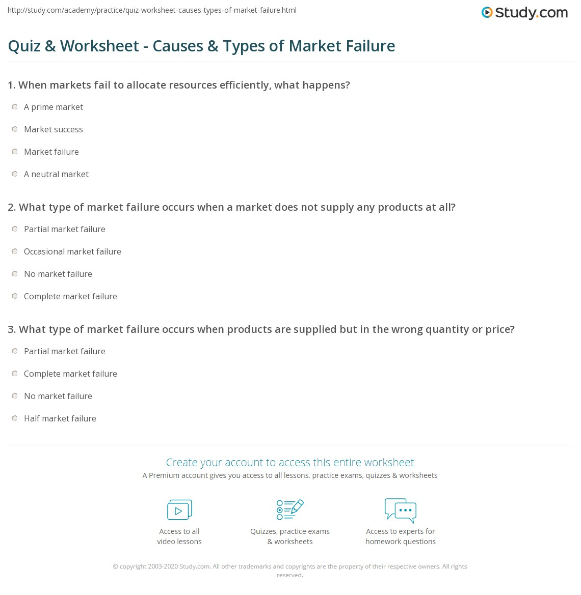 Quiz Worksheet Causes Types Of Market Failure Study