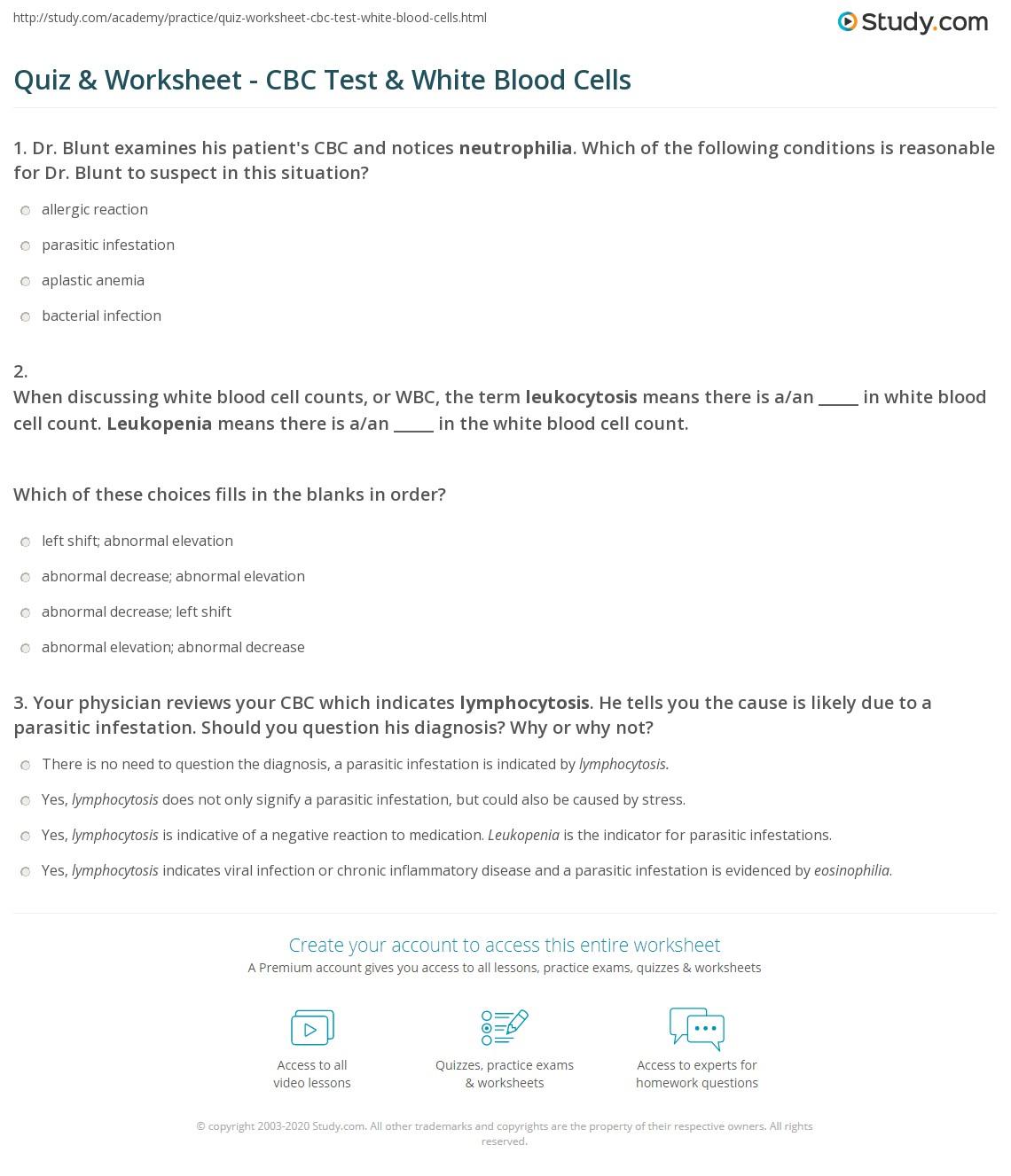 Quiz & Worksheet - CBC Test & White Blood Cells | Study.com