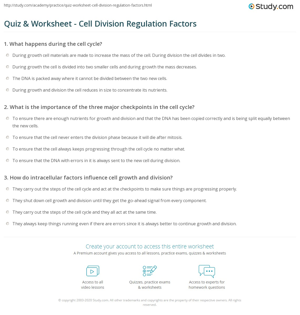 Quiz Worksheet Cell Division Regulation Factors Study