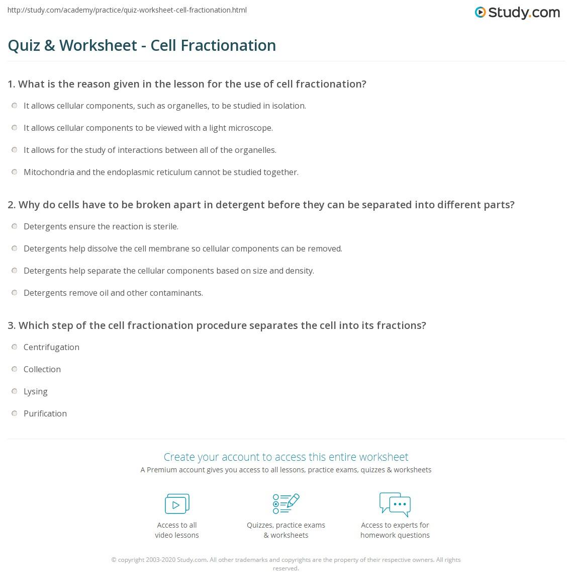 quiz worksheet cell fractionation. Black Bedroom Furniture Sets. Home Design Ideas