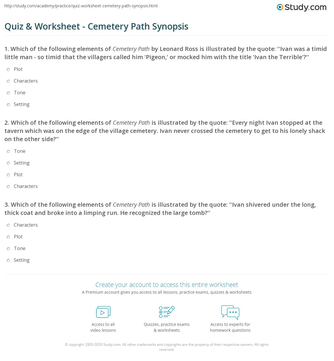 Quiz & Worksheet - Cemetery Path Synopsis | Study.com