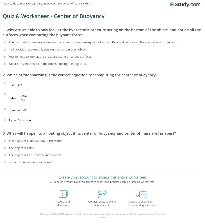 Worksheets Buoyancy Worksheet quiz worksheet center of buoyancy study com print definition formula worksheet