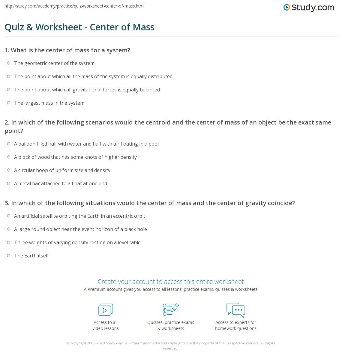 worksheet Mass Mass Problems Worksheet Answers quiz worksheet center of mass study com print calculating definition equation example worksheet
