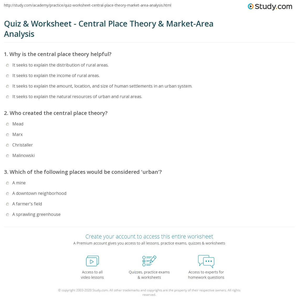 quiz worksheet central place theory market area analysis. Black Bedroom Furniture Sets. Home Design Ideas