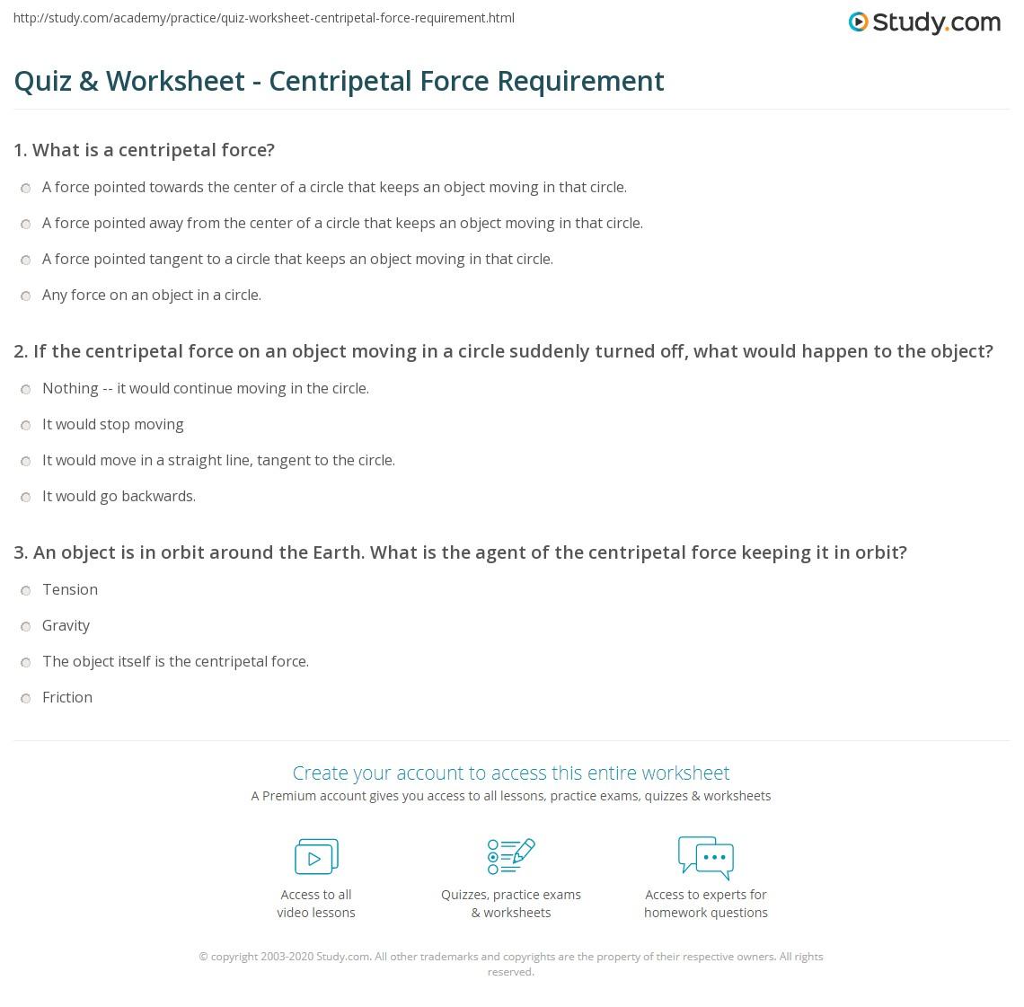 worksheet Centripetal Force Worksheet quiz worksheet centripetal force requirement study com print the definition examples problems worksheet