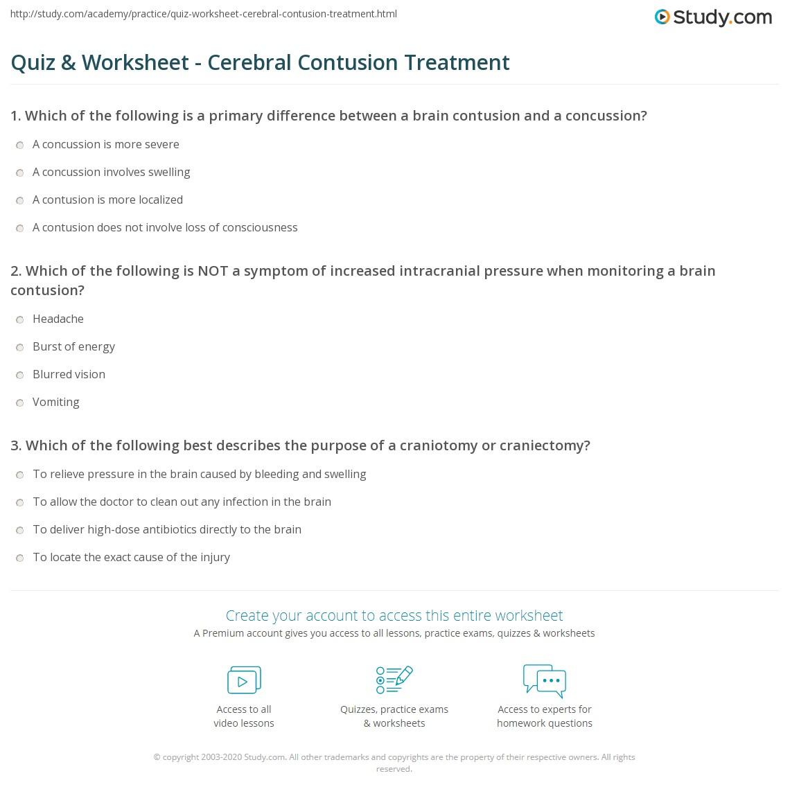 Quiz & Worksheet - Cerebral Contusion Treatment | Study com