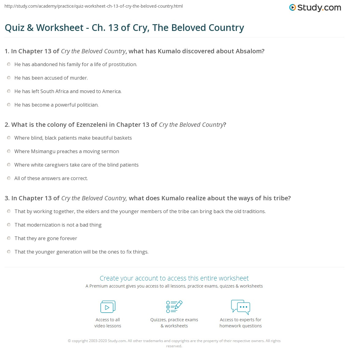 Quiz & Worksheet - Ch. 13 of Cry, The Beloved Country | Study.com
